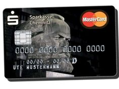 The Karl Marx MasterCard---for turning moments into elements of profit, available from Sparkasse Bank in Chemnitz, East Germany