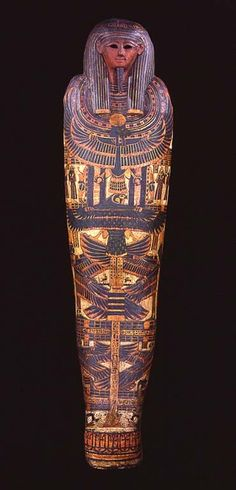 The cartonnage case of Djedkhonsefankh, who was a priest of Amun in the late 9th century BCE. Cartonnage cases were used as the innermost coffins during dynasties 22-24, and were made in a similar manner to papier mache, with plastered and painted linen. A seam on the back allowed the mummy to be inserted.