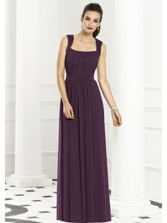 A-Line/Princess Square Neck Chiffon Floor-Length Bridesmaid Dresses