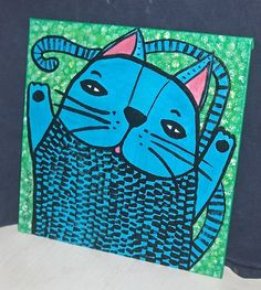 """Blue Cat Named Stanley whimsical Folk Art  8"""" square canvas acrylic painting…"""