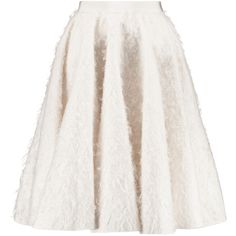 Giambattista Valli Brushed wool and silk-blend skirt found on Polyvore featuring skirts, faldas, white knee length skirt, knee high skirts, giambattista valli, white skirt and knee length skirts