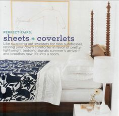 bedding- colorful coverlet and pretty white sheet set