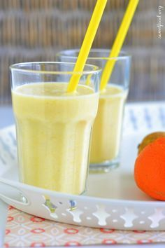 Smoothie pomme verte, poire et orange