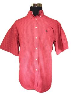 Tommy Hilfiger Casual Shirt Mens XL Red Plaid Button Down Short Sleeve Cotton #TommyHilfiger #ButtonFront