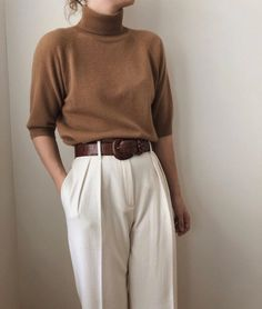 Fashion Pure Color High Collar Middle Sleeve Sweater - Fashion Show Look Fashion, Korean Fashion, Autumn Fashion, Trendy Fashion, Fashion Design, Classy Outfits, Vintage Outfits, Casual Outfits, Winter Outfits