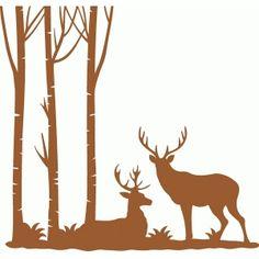 Silhouette Design Store - View Design #70014: deer corner