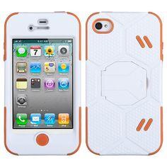 MYBAT Goalkeeper Hybrid Protector Case for iPhone 4/4S - White/Orange