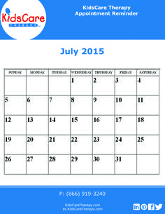 Use this July 2015 editable PDF calendar to plan out your Speech, Physical, or Occupational therapy for the month!