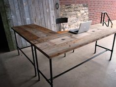 Homemade Office Desk : Exciting Remodeled Homemade Office Desk Which Has The Old Matter Of The Top And Set With L Shaped Layout
