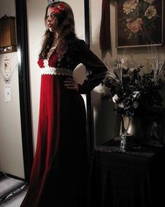 907e39a22754 1970's Vintage Blood Red Velvet Edwardian Revival Gown~Grapevine Crochet  Accents