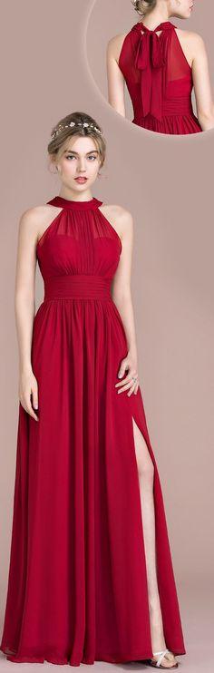 Red Slit Prom Dress,Halter Neckline Red Evening Dress,Sexy Red Slit Graduation Dress