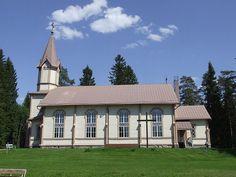 Tuupovaara Church - Tuupovaara – Wikipedia Grave Monuments, Graveyards, Old Buildings, Finland, Castles, Cathedral, Cabin, Interiors, Mansions
