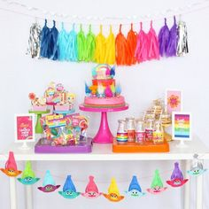 Trolls printable Birthday Party Collection - Trolls birthday party ideas rainbow ideas
