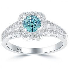 0.98 Carat Fancy Blue Diamond Engagement Ring 14k Gold Pave Halo Vintage Style