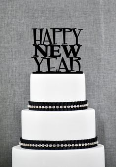 New to ChicagoFactory on Etsy: Happy New Year Cake Topper New Year Cake Topper Modern New Year Cake Topper Fun New Year Cake Topper- (S267) (15.00 USD)