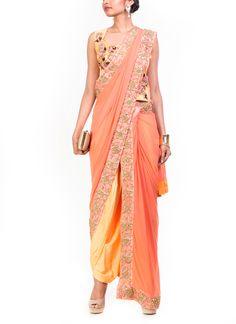 Anju Agarwal   Yellow and Light Salmon Dhoti Saree   Shop Sarees at strandofsilk.com