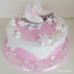 Pink and white  ice skating theme cake