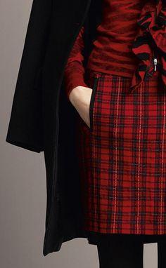 Beautiful deep red tartan skirt by oui