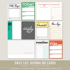 Image of Daily Life Journaling Cards (Digital) Project Life Scrapbook, Project Life Album, Project Life Layouts, Project Life Cards, Planner Pages, Printable Planner, 2016 Planner, Planner Stickers, Free Printables