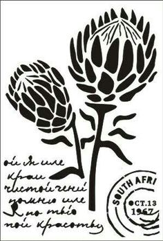 Pin by Diane Hampson on scan n Protea Art, Protea Flower, Stencil Printing, Stencil Art, Stencil Patterns, Stencil Designs, Line Art Flowers, Flower Silhouette, Outline Designs