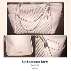 Cream and gold Coach satchel Beautiful new bag worn once. Cleaned professionally by Coach. Coach Bags Shoulder Bags