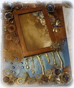 Photo Frame Mixed Media On Canvas Collage art Wall Hanging