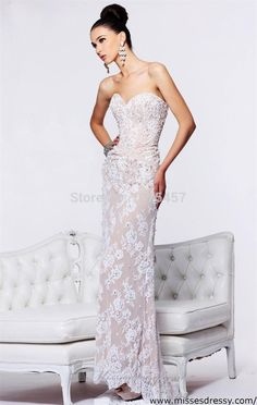 >> Click to Buy << New Arrival Vintage Lace Prom Gowns 2015 Sweetheart Crystal Beaded Dress To Party with Train Elegant Vestido De Festa MC162 #Affiliate
