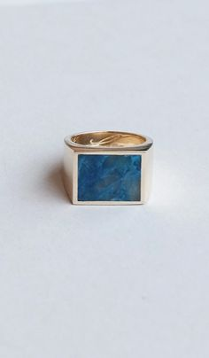 Legier Brass and Blue Chrysocolla Signet Ring – Spartan Shop Guy Gifts, Signet Ring, Rings For Men, Stud Earrings, Brass, Jewels, Stone, Summer, Blue