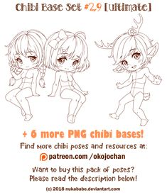 Chibi Pose Reference (Ultimate Chibi Base Set by Nukababe on DeviantArt Chibi, Drawing Reference, Character Design, Poses, Cartoon Art Styles, Pose Reference, Art Base, Chibi Drawings, Anime Chibi