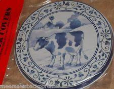 4 Vintage Cobalt Blue Cow Round STOVE Eye Electric Range Cook TOP BURNER COVERS Burner Covers, Cobalt Blue, Stove, Kitchen Ideas, Cow, Decorative Plates, Electric, Range, Tableware