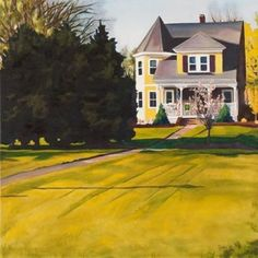 "norfolk spring 2014  original $1,000 . prints starting at $22 24"" x 24"" . oil . Early spring in Norfolk brings a riot of contrast. Blue evergreens on chartreuse lawns."