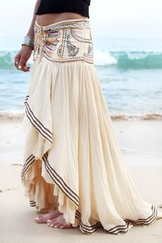 Sexy long modern gypsy style embellished skirt for a boho hippie chic look. Gypsy Style, Hippie Style, Bohemian Style, Boho Chic, Bohemian Fashion, Bohemian Summer, Bohemian Jewelry, Bohemian Design, Bohemian Skirt
