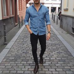 Denim shirt black jeans and brown leather chelsea by @justusf_hansen  […