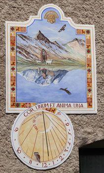Cadran solaire au chalet du Villars à Saint-Véran (Queyras - Hautes Alpes)