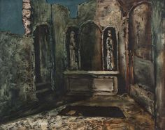 Daniel O'Neill (1920-1974) Ruined Chapel Oil on board, 40.5 x 50.5cm (16 x 20'') Signed Provenance: Christies Belfast October 1989, Cat. No. 370, where purchased by current owner. The potency of Daniel O'Neill's early paintings lies in the heighten