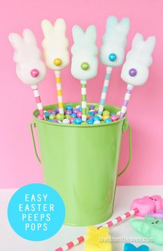 Fun, easy DIY Easter treat: Peeps Pops dipped in white chocolate plus a candy tail. Love!