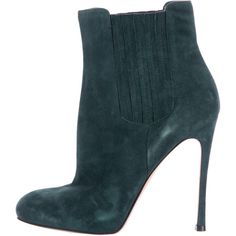 Pre-owned Sergio Rossi Booties ($275) ❤ liked on Polyvore featuring shoes, boots, ankle booties, green, gianvito rossi, suede booties, suede boots, green hunter boots and suede ankle booties