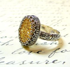 Gothic Sterling Silver Ring with Large Oval Gold Drusy Quartz Druzy on Etsy, $120.00