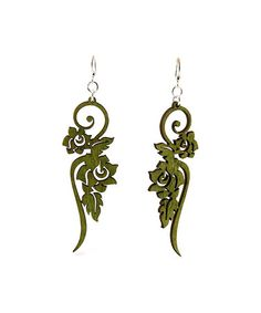 Loving this Green Ornament Flower Drop Earrings on #zulily! #zulilyfinds