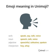 """Let's talk! 🗣️ The """"speaking head"""" emoji can be used when referring to speaking, talking, saying or voicing one's opinion for instance. Emoji Language, Being Used, The Voice, Chat Conversation, Meant To Be, Converse, Graphics, Let It Be, Sayings"""