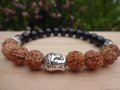 Buddhist Spiritual Buddha Mala Beaded Rudraksha Seed Bracelet Yoga Meditation Mala Yogi Gifts Black Onyx Men Women Wrist Mala Bracelet by MalaLovebeads on Etsy