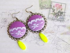 Yellow Mauve earrings White lace earrings Fabric by chezviolette