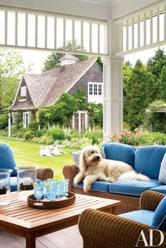 The couples dog Jerry enjoys the sitting area on the rear porch which has views of the perennials garden designed by Jane Lappin and Arlene Gould. Edmund Hollander created additional landscaping in classic East Hampton country style. Henry Hall low table. Sofa fabric from Kravet. Lee Jofa pillow fabric.