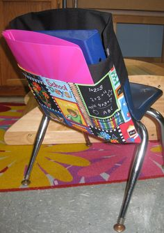 Here is a Fun 2 Pocket Chair Pocket for a Kindergarten class! It will Brighten up and Room!!! Want a solid color Chair Pocket we have a Great selection of chair pockets! Get Organized!