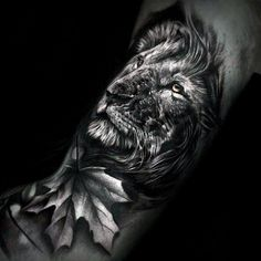 3d Leaf With Lion Head Guys Realistic Arm Tattoos