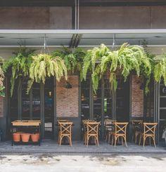 Oxide Cafe (Cafe oxide) - BKKMENU.com. Bar Interior, Restaurant Interior Design, Cafe Shop, Cafe Bar, Café Exterior, Bistro Decor, Green Cafe, Gallery Cafe, Cafe Concept