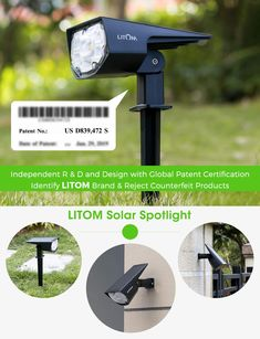 LITOM 12 LED Solar Landscape Spotlights -- (paid link) To view further for this item, visit the image link.