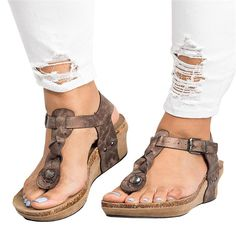 7201fceb4a9e Chellysun Women s Boho Braided Wedge T-Strap Sandals Leather Sandals