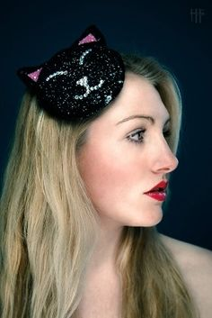 Kitty-Kat Fascinator with Crystals