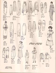 1911-1920 #Vintage Patterns from www.amazondrygoods.com - 100 years in fashion article  http://www.examiner.com/fashion-design-in-phoenix/100-years-of-history-and-fashion